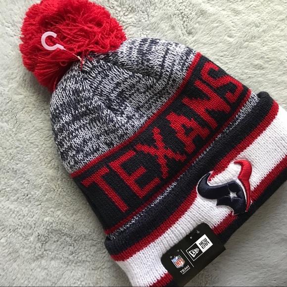NWT Houston Texans New Era Knit Beanie Pom Pom Hat 2e8607fc1